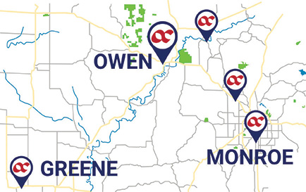 map of Owen County with branches indicated